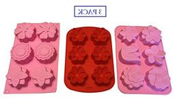 3 Flower Shaped Silicone Molds – Floral Shapes for Soap Mo