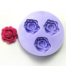 3 Hole Rose Flower Silicone Mold Fondant Chocolate Mold Cake