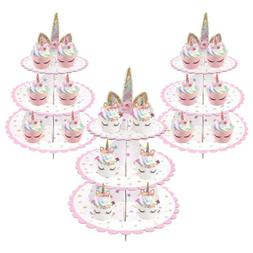 3-tier Cake Stand Unicorn Baby Shower Supplie Kids Birthday