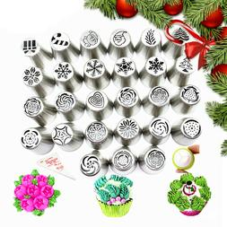 30X Christmas Icing Russian Piping Leaf Nozzles Stainless Ca