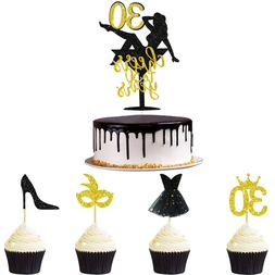 33pcs Black Gold Glitter Cheers to 30 Years Cake and Cupcake