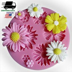 3D Flower Silicone Fondant Cake Decor Mold DIY Baking Tool M