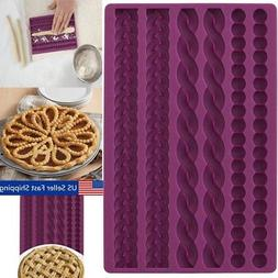 3D Knit Rope Pearl Silicone Fondant Mould Cake Border Decor