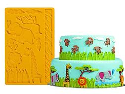 3D Lace Zoo Silicone Embossing Mold, Animal Jungle World Fon