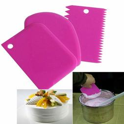 3Pcs Plastic Dough Icing Fondant Scraper Cake Decorating Bak