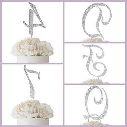 "4.5"" tall Silver Crystal Rhinestone Cake Topper Wedding Birt"