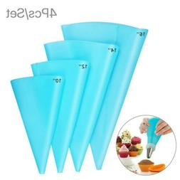 4 Size Silicone Pastry Icing Piping Cream Bags DIY Reusable