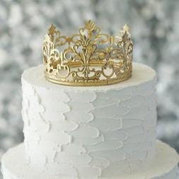 """4"""" wide GOLD Royal Crown Cake Topper Party Centerpiece Decor"""