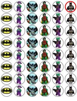 48 Lego Batman Cupcake Toppers by Coyote Party and print