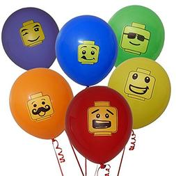 Gift Boutique 48 Building Block Party Balloons 6 Colors in 6