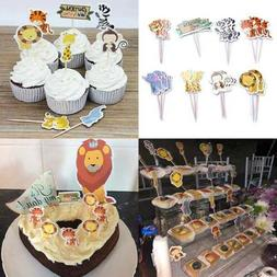48Pcs Animal Cupcake Toppers Double Sided Kids Party Cake Sn