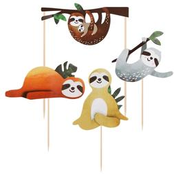 4pcs Cute Creative Sloth Cake Insert Card Cake Decor for Fes