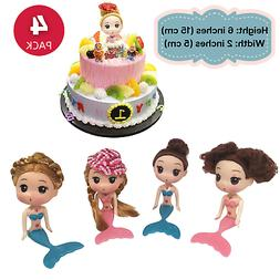 4Set Cake Toppers Decorating Disney Mermaid Dolls Ocean Prin