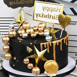5 pcs/lot lovely gold ball <font><b>cake</b></font> topper b