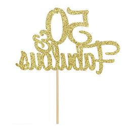 50 & Fabulous Cake Topper, Gold Glitter Happy 50th Birthday,