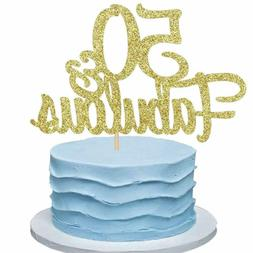 50 Fabulous Gold Cake Topper 50Th Birthday Or Anniversary Ca