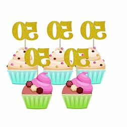 Homy Feel 48 Pieces 50 Number Gold Glitter Birthday Cupcake