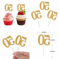 50Pcs 50Th Cupcake Toppers GOLD Glitter Number 50 Cake Picks