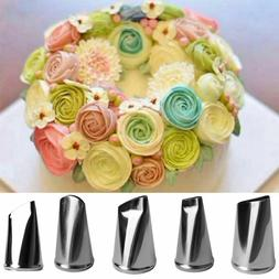 5Pcs Cake Decorate Kit Supplies Tools Piping Tips Pastry Ici