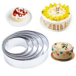 5Pcs Stainless Steel Round Cookie Biscuit Pastry Cutter Baki