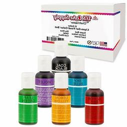 6 Food Color US Cake Supply by Chefmaster Liqua-Gel Paste Ca