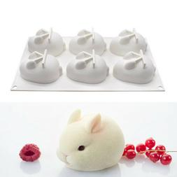 6Hole Silicone Mold 3d Rabbit Shape Cake Mold Mousse Dessert