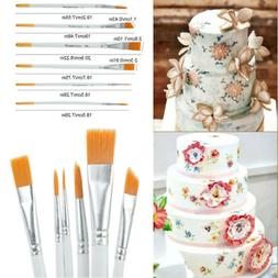 6Pcs Wood Cake Decorating Brush Set Flexible Painting Brushe