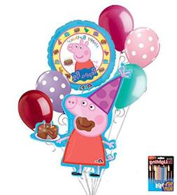 7 pc Peppa Pig Happy Birthday Balloon Bouquet Party Decorati