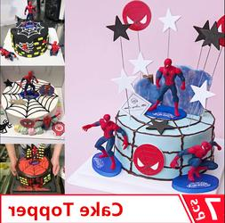 7 PCS 3D Superhero Spiderman  Cake Topper Cup Cake Decoratio