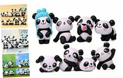 8 PCS  Cute Panda Toys Figurines Playset Cake Decoration Poc