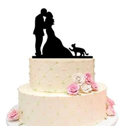 Acrylic Black Wedding Cake Topper, Bride and Groom with Love