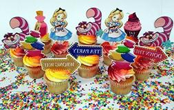 Alice In Wonderland Themed Birthday Cupcake Toppers Featurin