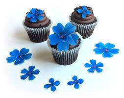 Assorted Blue Wafer Paper Flowers in 3 Different Shapes and