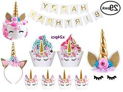 Bestus  Unicorn Cake Topper with Eyelashes, Headband, Cupcak