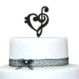 Buythrow Customized Music Note Wedding Cake Toppers with Hea