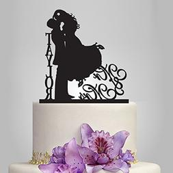 Buythrow Mr and Mrs Cake Topper,Bride and Groom Silhouette W