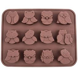 Chawoorim 12 Owls Silicone Cake Bread Chocolate Jelly Candy