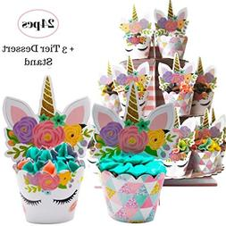 Coco & Ella Unicorn Party Cupcake Toppers Wrappers - Birthda