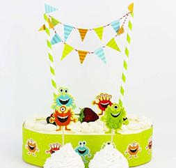 Colorful Cartoon Cake Bunting Banner Topper Picks Wrapper De