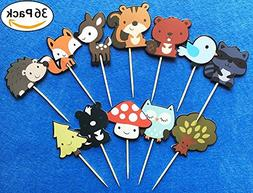 Cute Woodland Creatures Cupcake Toppers Picks, Woodland Anim