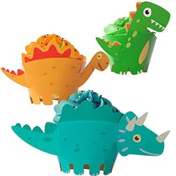 Dinosaur Cupcake Wrappers Toppers Party Supplies Birthday Di