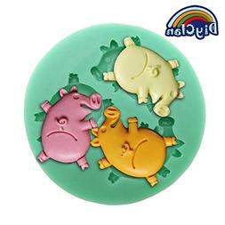 Diyclan silicone mould pig mold for cake decoration fondant