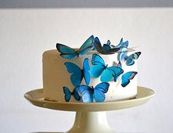 Edible Butterflies © - Assorted Blue Set of 15 - Cake and C