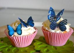 Edible Butterflies © - Small Assorted Blue Set of 24 - Cake