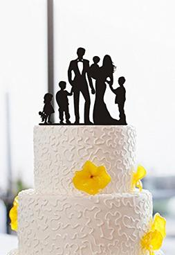 Family Silhouette Wedding Cake Toppers Bride and Groom with