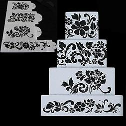 Ferramentas Bolo 4PCS Flowers Fondant Decorating Cake Stenci
