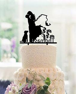 Fishing Wedding Cake Toppers Bride and Groom with Dog Mr and