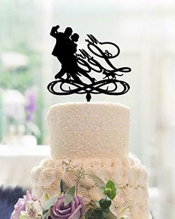 Funny Dancing Bride and Groom Wedding Cake Toppers with Dog