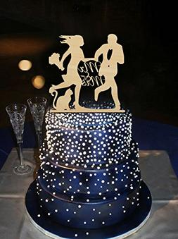 Funny Running Bride and Groom Wedding Cake Toppers Mr and Mr