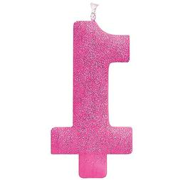Amscan #1 Birthday Glitter Candle - Pink